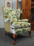 Queen Anne Style Botanical Green Print & Walnut Winged Back Chair - erfmann-vintage