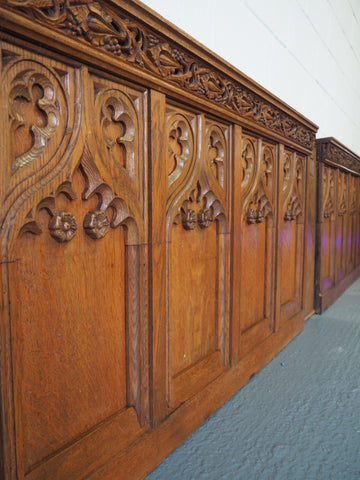 19th Century Large Oak Church Panels Beautifully Carved Set of 4 with 2 'End' Panels - erfmann-vintage