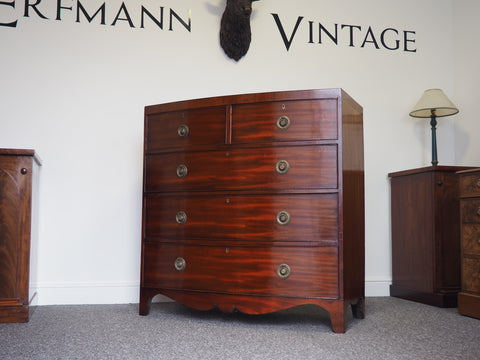Early 19th century Mahogany Bow Fronted Chest of Drawers - erfmann-vintage