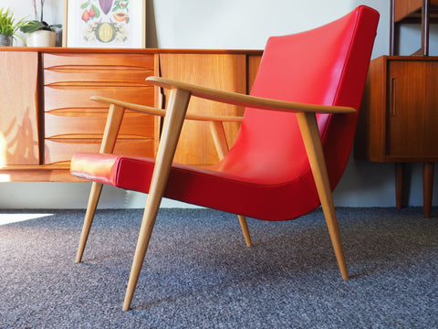Mid Century Danish Style Easy Chair in Vibrant Red Vinyl - erfmann-vintage
