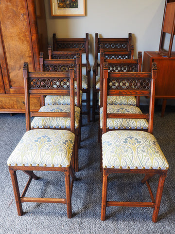 Antique Pugin Style Oak Dining Chairs (set of 8) William Morris Style Upholstered Seats - erfmann-vintage