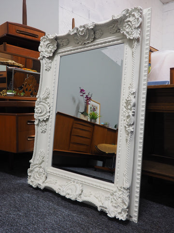 Very Large Ornate Neoclassical Moulded Carved Framed White Mirror Erfmann Vintage