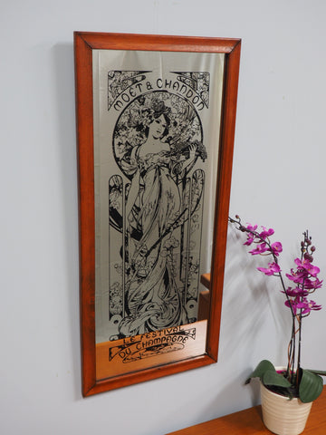 Vintage Moet & Chandon Champagne Advertising Mirror Oak Frame Screen Printed In England By Aspell, Saggers And Co 1970'S - erfmann-vintage