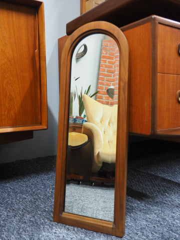 Antique Church Oblong Shaped Small Wall Mirror Mahogany Frame - erfmann-vintage