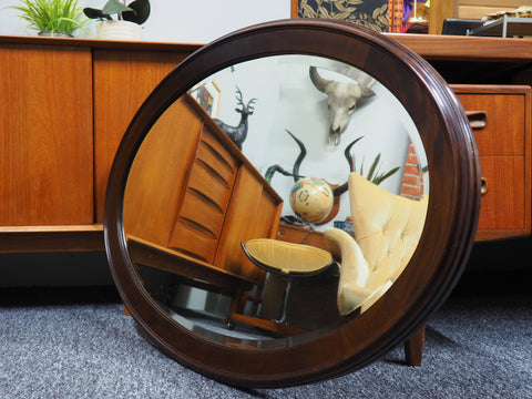 Antique Mahogany Framed Large Oval Mirror - erfmann-vintage