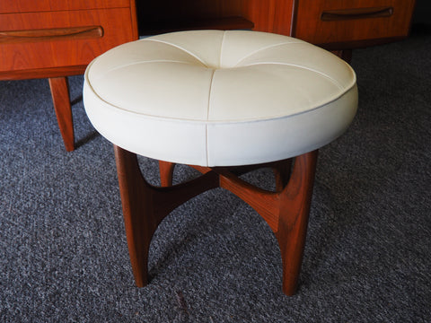 Mid Century G Plan Cream Vinyl Dressing Table Stool Footstool Atomic Style - erfmann-vintage