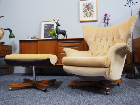 Mid Century G Plan Armchair 6250 & Footstool 6251 Gold Velvet Buttonback/Winged - James Bond Style - erfmann-vintage