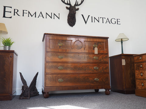 18th Century / George III Mahogany Secretaire Chest of Drawers - erfmann-vintage