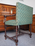 Mid 19th Century Oak Elbow Chair with Matching Footstool - erfmann-vintage