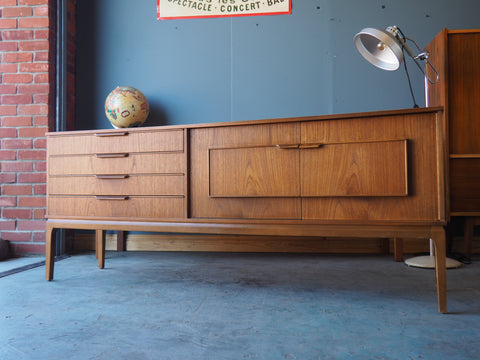 Mid Century Teak Sideboard with Handsome Framing on Cupboard Doors - erfmann-vintage