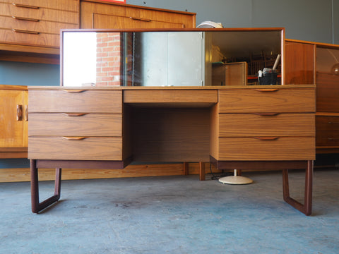 Mid Century Teak Veneer Europa Furniture Dressing Table with Mirror (could be converted into a Desk) - erfmann-vintage