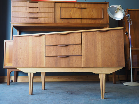 Mid Century 1960s Pale Teak Sideboard Central Drawers Two Cupboards - erfmann-vintage
