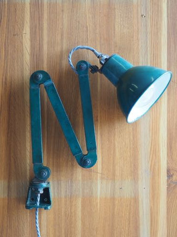 Industrial Enamel and Metal Angle Desk Lamp with Clip PAT Tested - erfmann-vintage