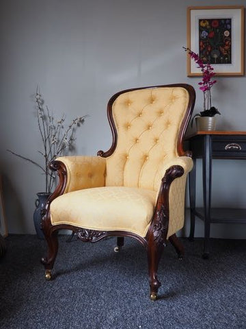 Antique Victorian Armchair Rosewood Frame Double Piped 1860s-70s - erfmann-vintage