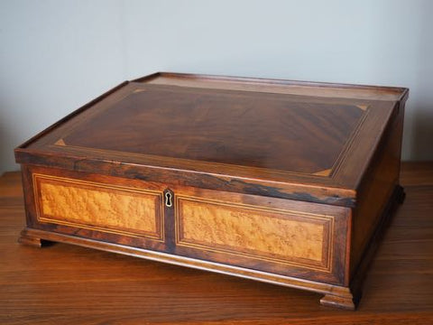 Antique Late Victorian Writing Slope Mahogany Box Wood Rosewood Maple - erfmann-vintage
