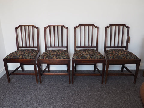 Antique Set of Four Mahogany Georgian Dining Chairs