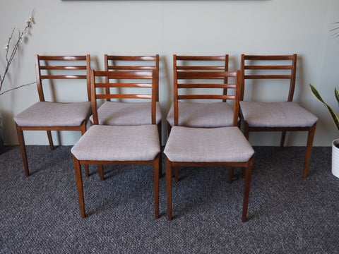 Mid Century Set Of 6 Danish Dining Chairs In Teak with Grey Upholstered Seats - erfmann-vintage