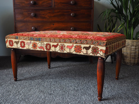 Antique 'Kilim Rug' Footstool/Coffee Table with Mahogany Legs - erfmann-vintage