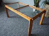 Oriental Style Bamboo & Glass Coffee Table by Titchmarsh & Goodwin - erfmann-vintage
