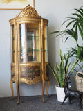 Antique French Gilded Vitrine Display Cabinet - erfmann-vintage