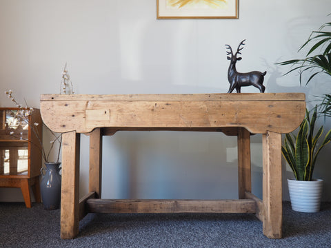 Rustic Shabby Chic Pine Workbench/ Kitchen Dining Table - erfmann-vintage