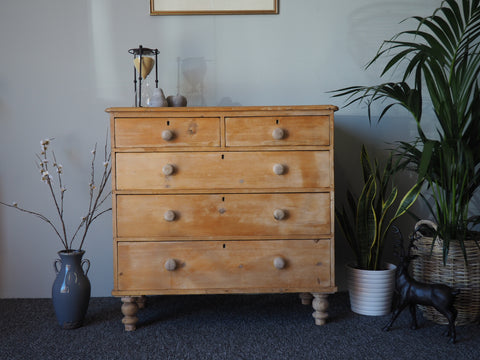Victorian Pine Chest of Drawers Rustic Shabby Chic - erfmann-vintage