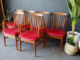 Mid Century Vintage Set of 6 Teak Danish Dining Chairs in the style of  Preben-Schou