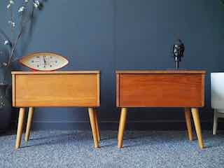 Mid Century Vintage Teak Bedside Cabinets by 'Relax'