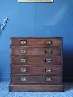 Antique Military Campaign Chest Drawers Small Rare Beautiful