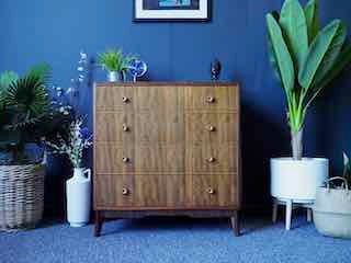 Mid Century Vintage Morris Of Glasgow Walnut Chest of Drawers