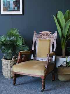 Antique Edwardian Carved Occasional Low Slung Chair