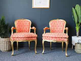 Pair of Louis XV Style Gilt Open Armchairs Originally Supplied by Harrods