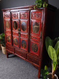 Antique Oriental Chinese Wedding Cabinet Red Decorative Storage - erfmann-vintage