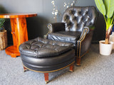 Chesterfield Style Leather Armchair & Footstool by Hancock & Moore - erfmann-vintage