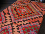 Original Antique Afghan Kilim Rug Covered Footstool - erfmann-vintage