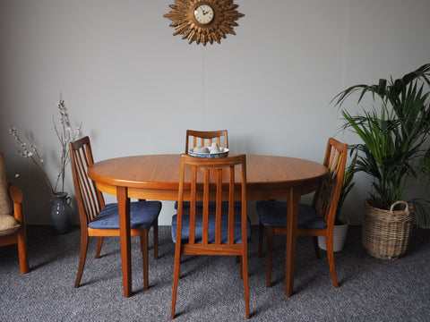 Mid Century Extending Koford Larsen for G Plan Dining Table & Four Chairs - erfmann-vintage