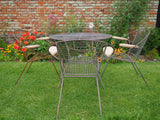 Vintage Wrought Iron Garden Table & 6 Chair set - Style of Maurizio Tempestini for Salterini - erfmann-vintage