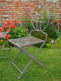 Vintage Wrought Iron Folding Garden Chairs with Tear Drop Shape Four in Set - erfmann-vintage
