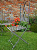 Vintage Wrought Iron Folding Garden Chairs with Animals Depicted Four in Set - erfmann-vintage