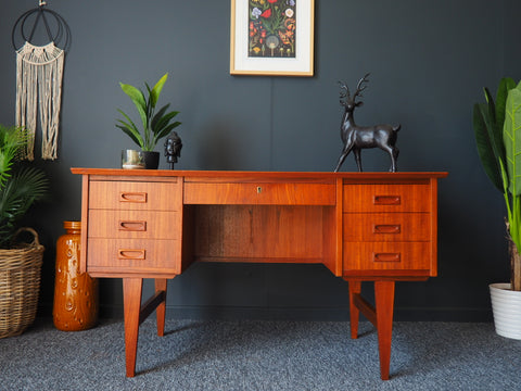 Mid Century Danish Desk Writing Bureau in Teak 1960s - erfmann-vintage