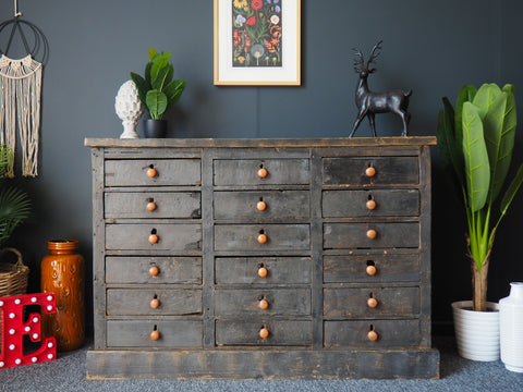 Antique Pine Apothecary/Haberdashery Unit Sideboard Storage Distressed Grey - erfmann-vintage