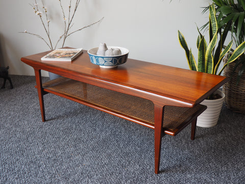 Mid Century Norwegian Rosewood Coffee Table with Rattan Magazine Shelf - erfmann-vintage