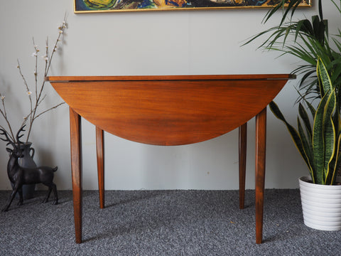 Mid Century Round Teak Drop-Leaf Table with Afromosia Wood Legs - erfmann-vintage