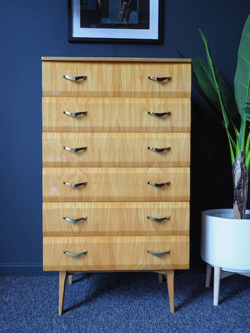 Mid Century 1950s/60s Meredew Maple Veneer High Gloss Tall Boy Chest Of Six Drawers
