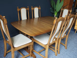 Mid Century Ercol Golden Dawn Extending Dining Table & Six Chairs Elm
