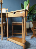 Mid Century Ercol Golden Dawn Half Moon Hallway Side Table Solid Elm