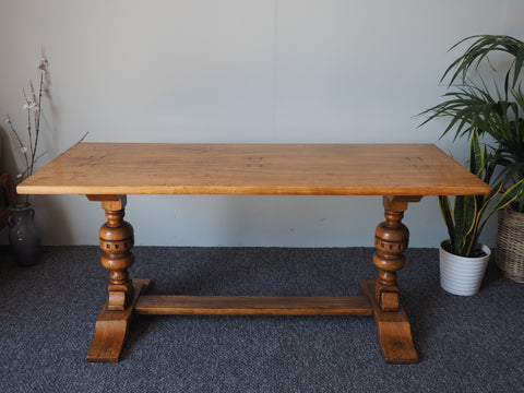 20th Century Reproduction Rare Solid Oak and Ash Serving or Refectory Table - erfmann-vintage