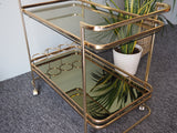Vintage Mid Century Gilded Brass Hostess/Drinks Trolley - erfmann-vintage