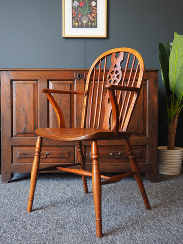 Antique 19th Century Elm & Fruitwood Wheel-back Country Elbow Chair - erfmann-vintage