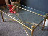 Mid Century Coffee Table French Louis XVI Style Gilt Metal/Brass And Glass - erfmann-vintage